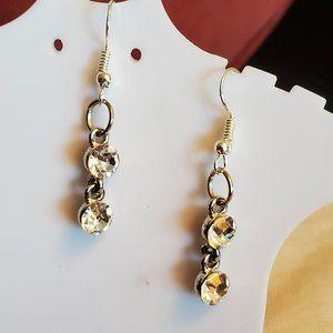 Silver Tone Hook Rhinestone Layer Dangle Earrings